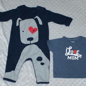 2/$20 Baby dog sleeper heart love mom t-shirt boy